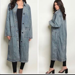 DISTRESSED JEAN TRENCH JACKET